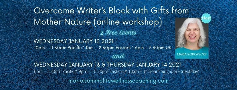 Overcome Writer's Block January Workshop.